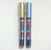 Uni Posca Paint Marker PC-1M Gold & Silver, 2 pens per Pack(Japan Import) [Komainu-Dou Original Package]