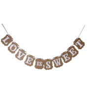 OULII LOVE IS SWEET Garland Banner Banner Decoration for Wedding Ceremony