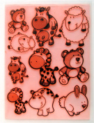 Cute Animals Cow Sheep Bear Giraffe Hyppo (18cm x 25cm ) Large Sheet Clear Stamps Vintage