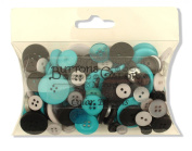 Buttons Galore Colour Blend Buttons, 90ml, Grey/Black/Teal