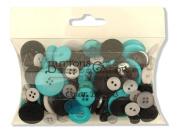 Buttons Galore Colour Blend Buttons, 90ml, Grey/Black/Teal