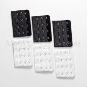 6-pack of Four-hook Bra Extenders - 3 black + 3 white