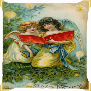 cushion cover throw pillow case 46cm angels Christmas read bible candle joyful celebration both sides image zipper