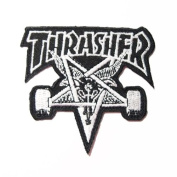 7.6cm X 6.9cm Thrasher Skate punk rock band music logo Embroidered iron on patch for t shirt hat jacket