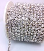 CHENGYIDA 10- Yards 2mm Silver Close Claw Cup Crystal Rhinestone Chains Trim Crafted DIY Ideas