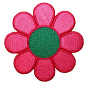 Hippie Purple Green Daisy Flower Iron On Patch