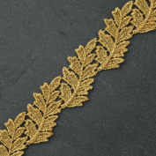 4.1cm Metallic Gold Lace Trim for Bridal, Costume or Jewellery, Crafts and Sewing by 1 Yard, LP-MX-4314
