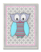 The Kids Room by Stupell Wall Decor, Bright Pink And Grey Owl Designer Prints And Wall Art For Kids Room