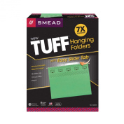 Smead TUFF® Hanging File Folder with Easy Slide(TM) Tab, 1/3-Cut Sliding Tab, Letter Size, Green, 18 per Box