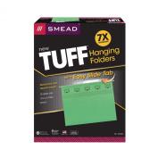 Smead TUFF® Hanging File Folder with Easy Slide(TM) Tab, 1/3-Cut Sliding Tab, Letter Size, Green, 18 per Box