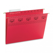 Smead TUFF® Hanging File Folder with Easy Slide(TM) Tab, 1/3-Cut Sliding Tab, Letter Size, Red, 18 per Box
