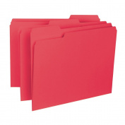 Smead Interior File Folder, 1/3-Cut Tab, Letter Size, Red, 100 per Box