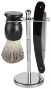 Shaving Gift Set With Straight Razor, 100% Badger Hair Shaving Brush, And All Metal Stand
