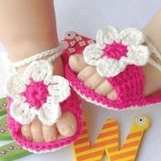 Baby Newborn Infant Girls Crochet Knit Rose White Socks Crib Casual Shoes Prewalker
