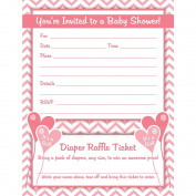 Girl Baby Shower Invitations with Nappy Raffle Ticket