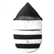 7 A.M. ENFANT Bee Pod Baby Bunting Bag for Strollers and Car-Seats with Removable Back Panel, Black/White, Small/Medium