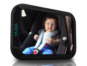 Baby Car Mirror - Hugs Babycare Extra Large Convex Back Seat Mirror for Cars - 360° Adjustable Rotation - Clear View of Infant in Rear Facing Car Seats Without Turning Around - Shatterproof - Crystal-Clear, Anti-Glare Reflection - Non-Slip Techn ..