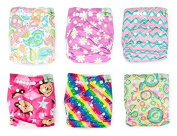 Naturally Nature Cloth Nappy 6pcs Pack Washable Adjustable with 2 Inserts Each- Girl Variety Pack - Rainbow, Pink Stripes, Pink Daisies, Pink Monkey, Multi-swirls,