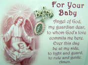 """Birth or Baptism Gift """"Baby"""" Lapel Pin with Dangling Pink Miraculous Medal Charm"""