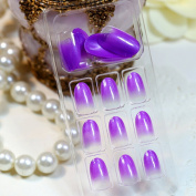 EVTECH(TM) 24 Pcs Nail Decals French Artificial Full Cover False Nails Round Head Nail Art Tips Fashion Style Glitters Nail Art Tool -Purple