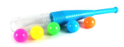 Premium NL Clear Toy Baseball Bat w/ 5 Balls, Clear Tip Screws Out to Store Balls