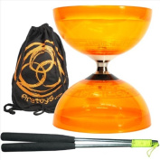 Juggle Dream Hurricane Triple Bearing Diabolo (Orange) Metal Diablo Sticks & Bag