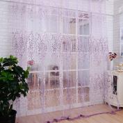 Chunshop Floral Type Drape Panel Sheer Scarf Valance Tulle Voile Door Room Window Curtain