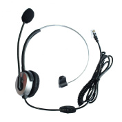 GoodQbuy® Hands-free Call Centre Headset Headphones Ear Phone Desk Telephone with Comfort Fit Headband Noice Cancelling - Silver