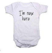 I'm New Here Slogan Boys/Girls Baby Grow/Vest Baby Shower Gift