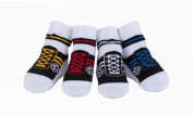Baby Emporio- 4 Pr-Baby Boy Socks that look like shoes-Football-Soccer-0-9 Months-Anti-slip soles