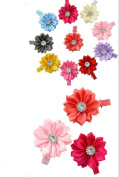 Cuhair(tm)10pcs Flower Cloth with Crystal Baby Girl Accessories Princess Bb Hair Clips Hairpin Girl Clip Band Retail or Wholesale