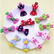 Cuhair(tm)children 12pcs for 6style About 4cm Clip Kids Girl Baby Sweet Hair Clip Hair Pins Hair Barrettes Hair Accessories Hairpin Bow Wave Point Hairpins Bow or Sunflower