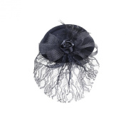 Jelinda Women's Black Rose Feather Flower Lace Top Hat Cocktail Headwear