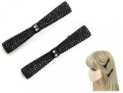 Pretty Vintage Black Jet Look Bow Facetted Hair Slides Grips Beak Clip with Diamante 2 on a card