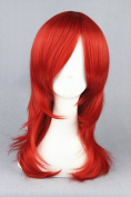55cm Dark Red Colour Medium Length Cosplay Wigs For Fashion Lady + Cartoon Cosplay + Halloween Day