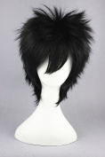 35cm Black Colour Short Cosplay Wigs for Fairy Tail/Ao no Exorcist And Halloween Wigs