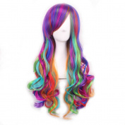 70cm Cosplay Colourful Wigs Gradient Corlor Harajuku Style