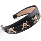 Cuhair(tm) Fashion Women 1pc Black Pu Leather with Skull Hair Hoops Hair Headbands Band Accessories