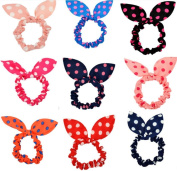 Cuhair(tm)Mix Wholesale 9pcs Rabbit Head Cloth for Women Kids Children Girl Women Hair Accessories Elastic Tie Ponytail Holders Princess Women Hair Rope Rubber Bands Accessories
