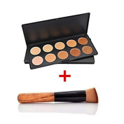 VALUE MAHERS Ultra 10 Colour Contour Kit - Contour Palette - Contouring Kits - Makeup Cream Contour Palette - Professional Make Up Foundation Palette - Cometics Tool Palette - Blemish Concealer Palette + Make Up Powder Blusher Foundation Brush