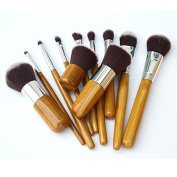 11 Piece Pro Quality Make Up Brushes Eco Friendly Bamboo Handle Super Soft Bristles Plus Free Tweezers