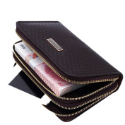 Men's Clutch Purse Bag Business with Zipper Business Casual Genuine Leather Wallet