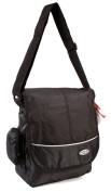 HB-S-02 Black Messenger Unisex School Shoulder Bag with Organiser Section