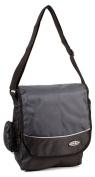 HB-S-02 Black Grey Messenger Unisex School Shoulder Bag with Organiser Section