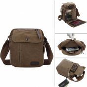 LY® Men Vintage Casual Multi-Pocket Canvas Cross Body Bag Rucksack Small Satchel Shoulder Messenger Zip Bag Gift