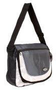 HB-S-01 Black Grey Messenger Unisex School Shoulder Bag with Organiser Section