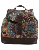 Anekaant Seventh Sense Women Cotton Polyester PU Brown and Multicolor Backpack