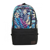 OULII Boys Girls Floral Print Nylon Backpack Rucksack Double-Shoulder Bag Students School Bag
