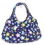 Fortuning's JDS® New canvas blue flowers printed with bowtie handbag