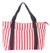 Fortuning's JDS® Women's red striped canvas school bag handbag tote